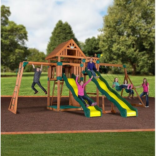 backyard swing set with two slides by