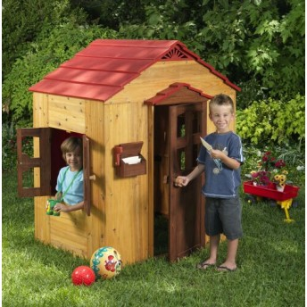 Backyard Wooden Playhouse - by JumpJoker.com